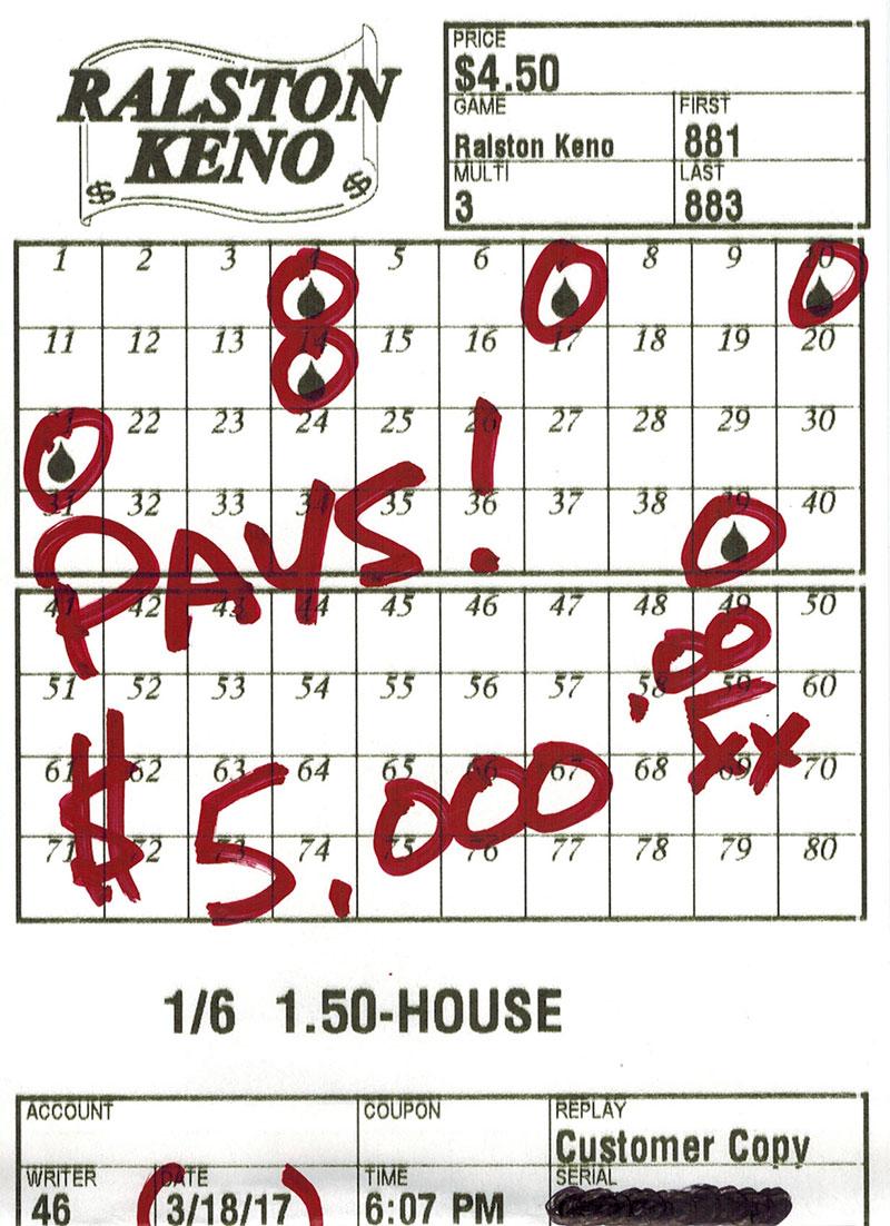 Big keno payout $5000